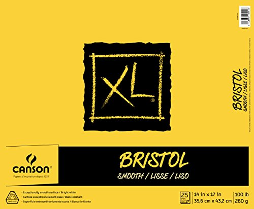 Canson XL Series Bristol Pad, Heavyweight Paper for Ink, Marker or Pencil, Smooth Finish, Fold Over, 100 Pound, 14 x 17 Inch, Bright White, 25 - Bristol Pad Smooth