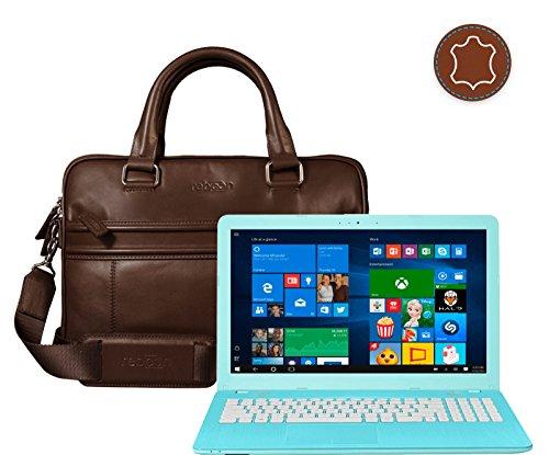 reboon Echt-Leder Laptop-Tasche in Braun Leder für ASUS F541UA GQ1823T 15 6 | 15 Zoll | Notebooktasche Umhängetasche | Damen/Herren - Unisex | Premium Qualität Braun Leder