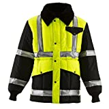 RefrigiWear Men's HiVis Iron-Tuff Two-Tone Jackoat Jacket - ANSI Class 2 High Visibility with Reflective Tape (Lime/Navy, 2XL Tall)