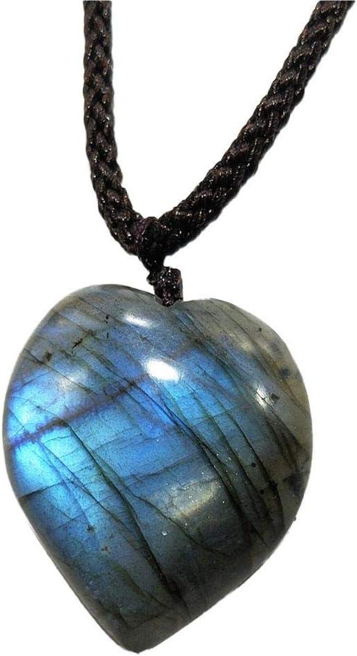Colgante de Cristal de labradorita Natural Colgante de Chakra curativo Colgante con Cuerda Tejida a Mano Labradorita Piedra de Palma Piedra de Luna Colgante de Piedra curativa
