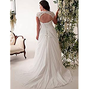 YIPEISHA Women's Elegant Applique Lace Wedding Dress V Neck Plus Size Beach Bridal Gowns