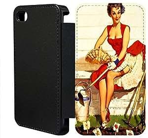 iPhone 4 4s Flip Wallet funda, FKSGFKOOJ0239 lujo moda cuero la PU Flip Wallet funda por iPhone 4 4s (Vintage Retro Pin Up Girls)