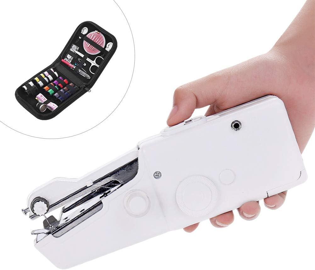 MIFU Mini Máquinas de coser Portátil Herramienta de Puntada Rápida para Tela Ropa con Set de Costura para Uso de Viaje y Casa