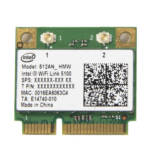 New Intel Wifi 5100 Half Size Mini PCI-e 512AN_HMW 300 Mbps Card 802.11a/b/g/n 2.4 GHz and 5.0 GHz (5100 Intel Link Wifi)