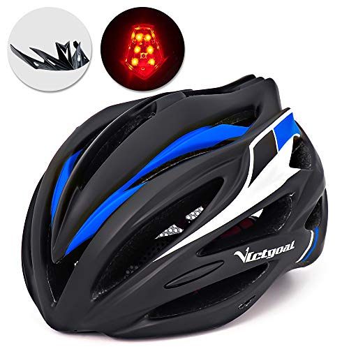 VICTGOAL Bike Helmet with Detachable Visor Back Light Insect Net Padded Adjustable Sport Cycling Helmet Lightweight Bicycle Helmets for Adult Men and Women Youth Teenagers