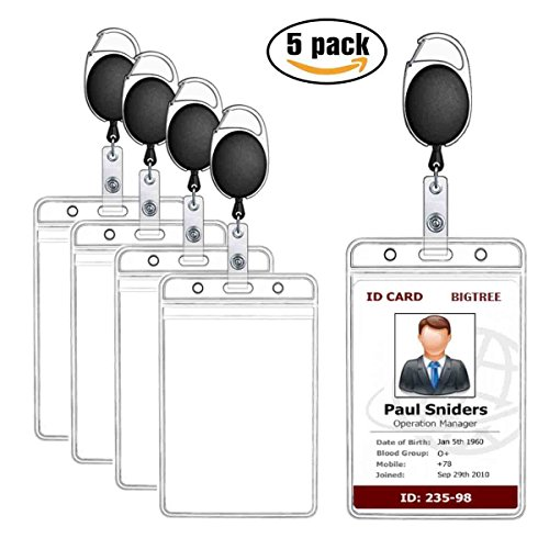 Badge Holder, MBigtree Vertical Heavy Duty Id Badge Holder Bus Card Holder with Retractable Carabiner Reel Clip for Office Company Employee School Student Bus Pass Id Card (Holder Reel)