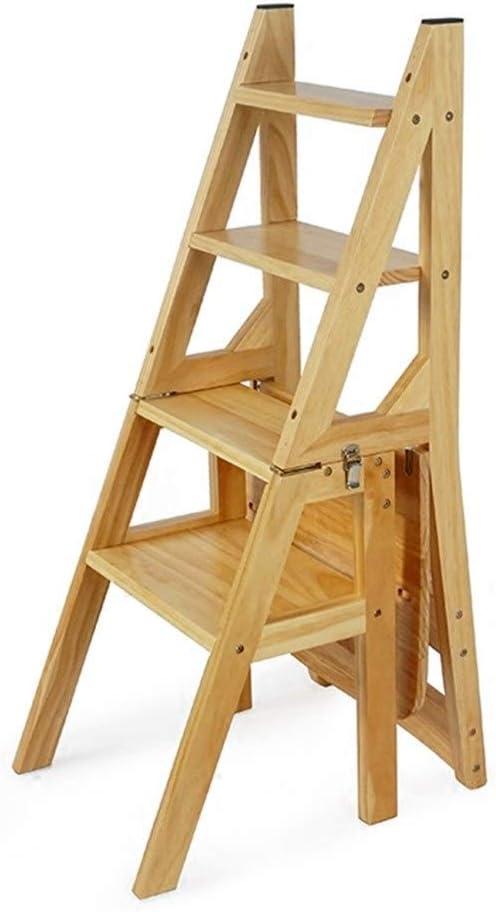 Escaleras de Mano Ingeniería Escalera Escalera Plegable Silla de Madera Maciza Escalera multifunción Silla Escalera, 150kg de Carga (Color : Wood, Size : 90 * 42 * 37cm): Amazon.es: Hogar