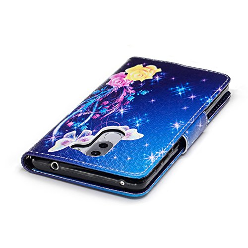 Para Huawei Honor 6X funda, (El búho pareja bajo el árbol) caja del teléfono de la PU patrón en pintado ,Función de Soporte Billetera con Tapa para Tarjetas soporte para teléfono Bailarina de mariposas