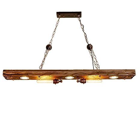 Lámpara de techo industrial vintage, 2 luces, madera ...