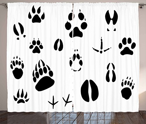 Ambesonne Hunting Curtains, Wildlife Animal Footprints and Hooves Claw Silhouettes Ecology Nature Theme, Living Room Bedroom Window Drapes 2 Panel Set, 108 W X 63 L Inches, White Black (Wild Footprints Animal)