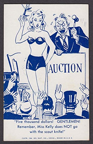 Auction gallery model with scout knife comic arcade card 1948