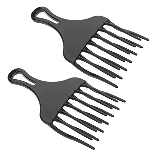 MagiDeal 2pcs Black Plastic Afro Thick Cruly Hair Pick African American Hair Comb Detangle Wig Braid Styling Lift Hairbrush - High Low Gear Frizz Free