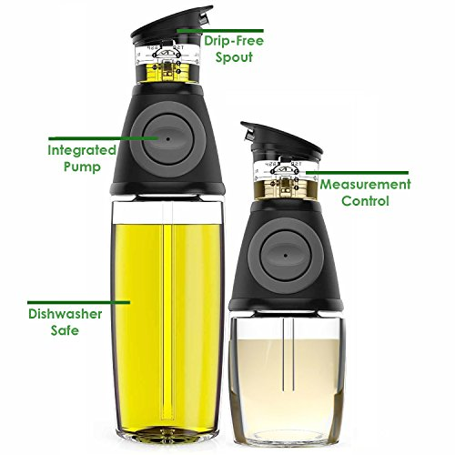 Olive Oil Dispenser Bottle Set  2 Pack Oil Vinegar Cruet with DripFree Spouts  Includes 17oz 500ml and 9oz 250ml Sized Bottles
