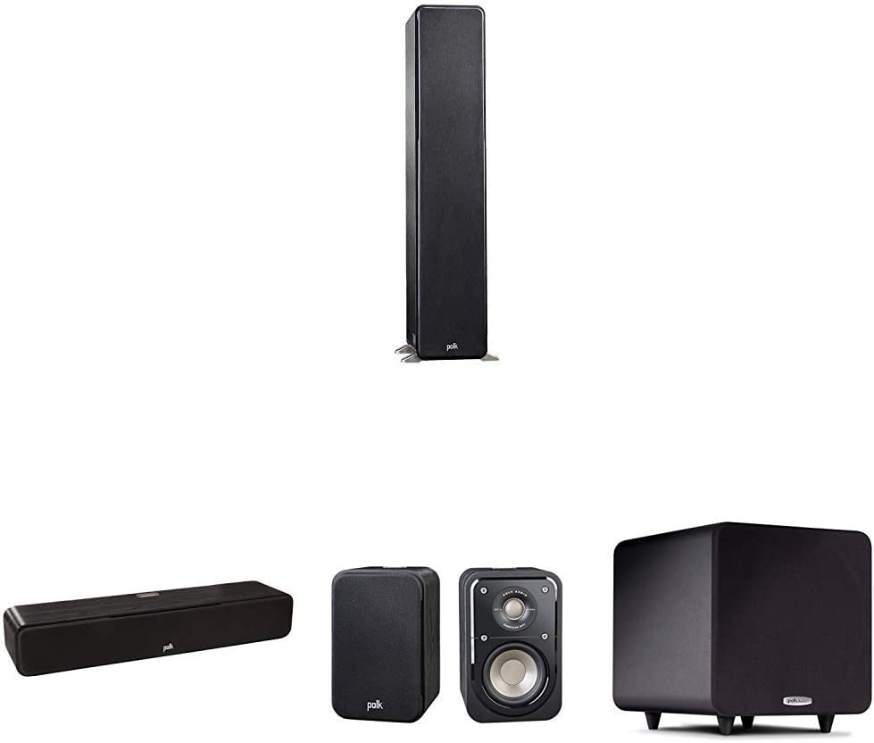 Polk Audio Signature Series 5.1 Channel Home Theater System with Powered Subwoofer | Two (2) S50 Tower Speakers, One (1) S30 Center Channel, Two (2) Bookshelf Speakers, PSW111 Sub | with PowerPort