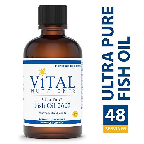 Vital Nutrients - Ultra Pure Fish Oil 2600 (Pharmaceutical Grade) - Hi-Potency Deep Sea Liquid Fish Oil, Cardiovascular Support, Natural Lemon Flavor - 8 fl oz per Bottle