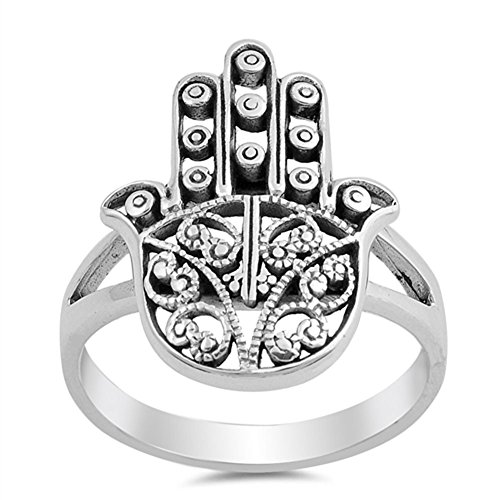 Filigree Hand of God Hamsa Ring New .925 Sterling Silver Heart Band Size 8 ()