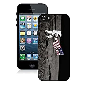 Silicone Iphone 5s Soft Black Case USA Flag and Astronaut on the Moon TPU Iphone 5 Cover by lolosakes