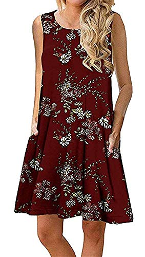 Boho Tshirt Dresses for Women Beach Casual Sleeveless Floral Shift Pockets Swing Loose Damask(L,Wine Red)