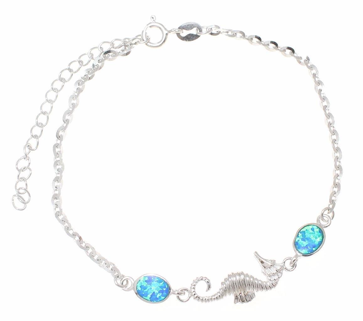 925 sterling silver Hawaiian seahorse blue synthetic opal link chain bracelet 7''+