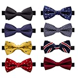 AUSKY 8 PACKS Elegant Adjustable Pre-tied bow ties for Men Boys in Different Colors (A)