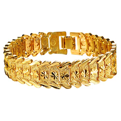 (OPK Jewelry Men's Fashion 18k Yellow Gold Plated Link Bracelet Carving Bangle,8.26 Inch)