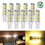 T10 921 194 Wedge RV Trailer LED Super Bright Warm White Bulbs 13-5050 SMD LED DC 12V (Pack of 10)