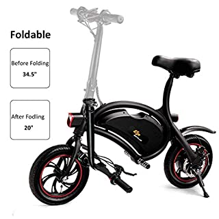 5 Cheap Best Electric Bikes Under 500: Goplus Folding Electric Bike 350W Lightweight E-Bike Mini Electric Bicycle Scooter Max Speed Up to 19 MPH with 12.5 Mile Range, Cruise Control System, APP Speed Setting and Headlight (Black)