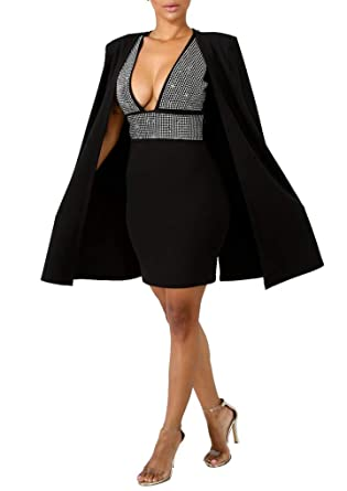 3ed4c84ff024 Amazon.com  Chicmay Women Sparkly Sequins Cape Cloak Mini Dress Deep V Neck  Hollow Out Bodycon Dresses 2 Piece Set Clubwear  Clothing