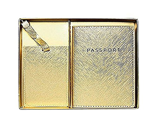 Eccolo World Traveler Journal Faux Leather Passport Holder and Luggage Tag Set (Gold)