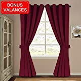 H.VERSAILTEX Blackout Window Treatment Thermal Insulated Curtains Drapes for Bedroom Solid Grommet Blackout Curtains for Living Room(2 Panels, Bonus 2 Curtain Valances), Burgundy