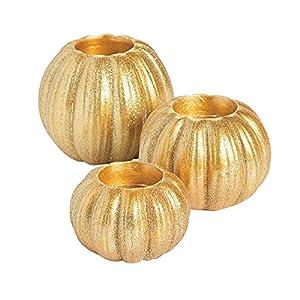Fun Express Gold Glitter Pumpkin Votive Candle Holder Set (3 Pieces) Fall Decorations