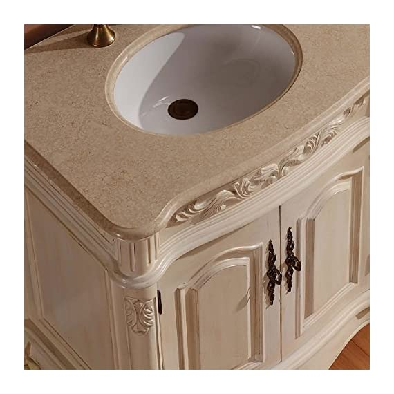 """Silkroad Exclusive Countertop Marble Stone Double Sink Bathroom Vanity with Cabinet, 72"""", Cream - Traditional Bathroom Vanity Double Sink Cabinet with White Oak Finish Item comes with Cream Marfil Marble Stone Top and White Ceramic Sink Material: Natural Stone Top, Solid Wood Structure & CARB Ph2 Certified Panels - bathroom-vanities, bathroom-fixtures-hardware, bathroom - 51xlC%2BLwDWL. SS570  -"""