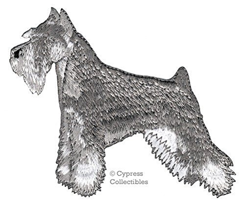 (EMBROIDERED SCHNAUZER PATCH iron-on applique DOG MINIATURE STANDARD GIANT PEPPER)