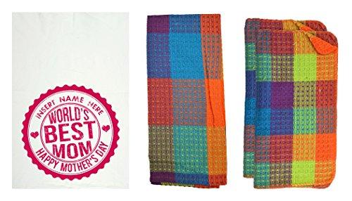 R&R Textile Mills 8 Piece Personalized World's Best Mom Kitchen Towel Set,  Gemstone