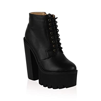88f5f184dfc Amazon.com   My1stWish Womens High Platform Grip Sole Chunky Block ...