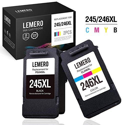 LEMERO Remanufactured Ink Cartridges Replacement for Canon PG-245XL CL-246XL 245 246 PG-243 CL-244 for Pixma MX492 MX490 TS3122 TS3120 MG2522 MG2520 MG3022 MG2922 MG2920 IP2820 (1 Black, 1 Tri-Color) -  LEMERO (not canon-oem), 245xl 246xl ink cartridges 2 pack