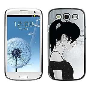 TopCaseStore / la caja del caucho duro de la cubierta de protección de la piel - Minimalist Girl - Samsung Galaxy S3 I9300