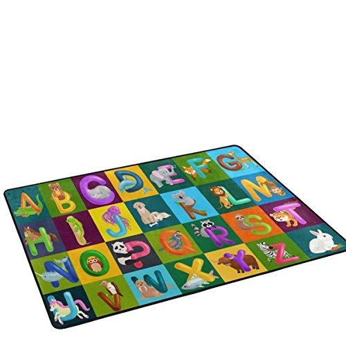 Funny Animals Alphabet ABC Preschool Education Area Rug Pad Non-Slip Kitchen Floor Mat for Living Room Bedroom 3'3″x5′ Doormat Home Decor