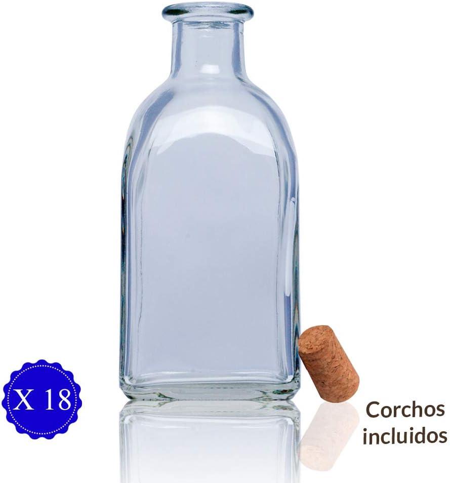 Tapas Rioja Frascas Botella Vidrio con tapon de Corcho botellitas de Cristal con Corcho. Frasca 250ml Licor, Aceite, Agua, Vino, Whisky.Frascos Detalle Boda bautizos (18 Unidades)