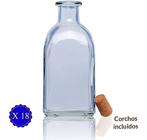 SHD Juego de 6 Botellas de Cristal de 200 ml con tap/ón de Rosca.