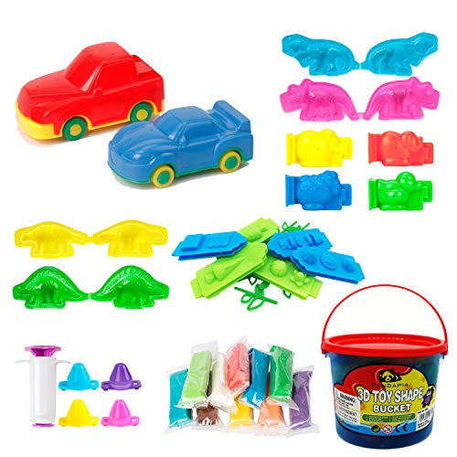 44Pcs Play Dough doh Tools Playsets with Clay Molds Bucket for Party Favor Supplies Pinata Goodie Bag Fillers Classroom Carnival Prizes