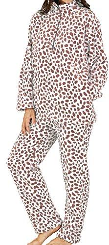 Mesdames luxe 280GSM Super doux molleton petite Rose zippé à col tacheté Twosie salon costume pyjama