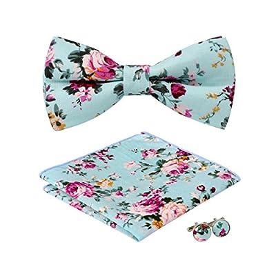 Hi-Tie Mens Stylish Bow tie Floral Cotton Bow Tie Hanky Cufflinks set