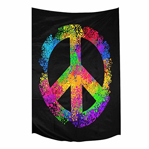 Cool Hippie Peace Sign Symbols Tapestry Wall Hanging