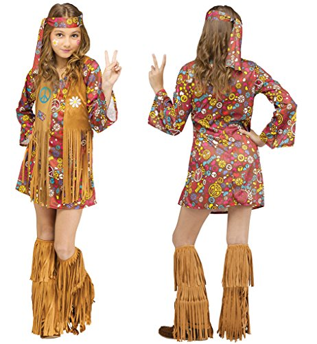 Cool Halloween Costumes For Tween Girls (Fun World Peace & Love Hippie Costume, Large 12 - 14,)