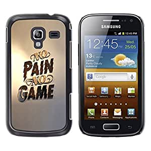 Slim Design Hard PC/Aluminum Shell Case Cover for Samsung Galaxy Ace 2 I8160 Ace II X S7560M No Pain No Game Gold Pc Gaming / JUSTGO PHONE PROTECTOR
