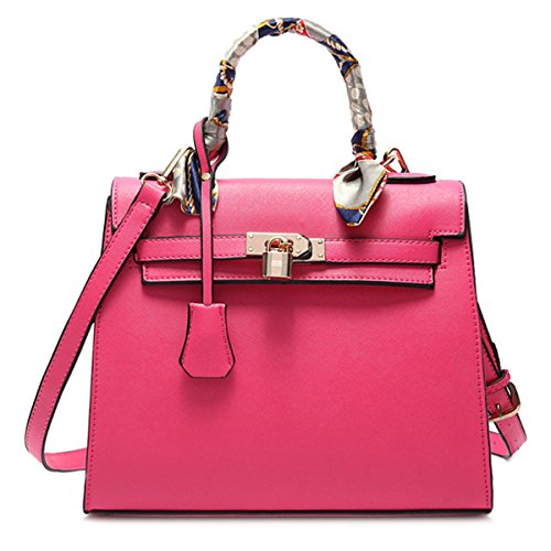 Women/Girl Fashion Designer Tote Purse Handbag Shoulder Bag with Scarves (Hot Pink) (Cheap Designer Bags)