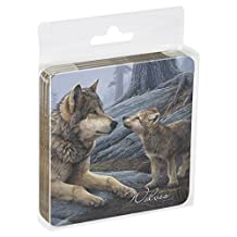 Tree-Free Greetings Set Of 4 Cork-Backed Coasters, 3.75x3.75-Inch, Wolf Brothers Themed Wildlife Art (52914)