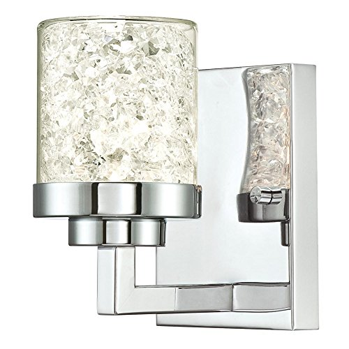 Light Sconce 1 Crystal (Westinghouse 6324400 Joliet One-Light Indoor Wall Fixture, Chrome Finish with Floating Crystals in Clear Glass, 1)