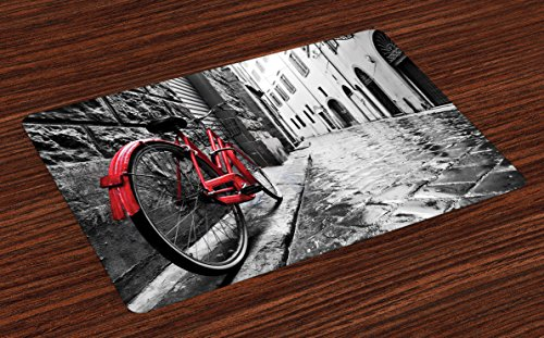 Lunarable Bicycle Place Mats Set of 4, Classic Bike on Cobblestone Street in Italian Town Leisure Artistic Photo, Washable Fabric Placemats for Dining Room Kitchen Table Decor, Red Black and White